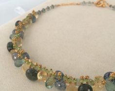 Semiprecious Gemstone Necklace in Gold Vermeil with by blueeasel
