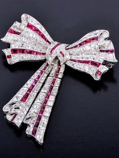 Very Fine Art Deco Ruby Diamond Bow Brooch