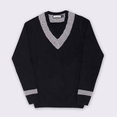 65 Mercer St. V-neck Cable Tennis Sweater