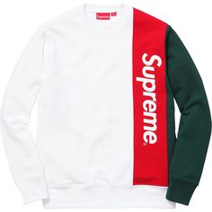 Supreme Panelled Crewneck ❤ liked on Polyvore featuring tops, crew-neck tops, white tops, crew neck tops and crew top