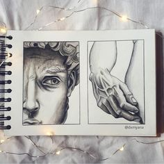 A drawing by @dxmyana on Instagram of Michelangelo's David. #art #drawing #michelangelo #david #sketchbook