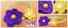#Nuevos #diseños Cintillo de flores #morado #amarillo #blanco #verde #crochet #ganchillo Realizado por encargo.