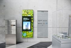 Technology in modern working environments - netvico meets Design Offices Digital Kiosk, Digital Retail, Digital Wall, Wayfinding Signage, Signage Design, Environmental Graphics, Environmental Design, Standing Signage, Digital Signage Solutions
