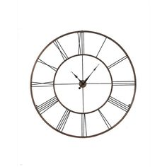 Add functional wall art to any space in your home with this oversized wall clock. Decorated with gold roman numerals, this clock is sure to make a lovely statement.