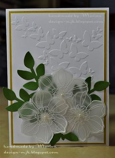 So pretty card Birthday Cards For Friends, Handmade Birthday Cards, Greeting Cards Handmade, Handmade Wedding, Poppy Cards, Leaf Cards, Embossed Cards, Stamping Up Cards, Butterfly Cards
