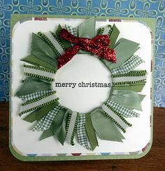 great ribbon wreath by Christa Uttley for Practical Scrappers Meaning Of Christmas, Christmas Love, All Things Christmas, Handmade Christmas, Christmas Holidays, Christmas Wreaths, Christmas Crafts, Christmas Decorations, Holiday Decorating