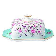 "Royal Albert New Country Roses Tea Party Mixed Patterns Covered Butter Dish, 7.2"", Multicolor"