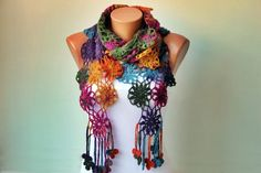 Crochet scarf  long scarf woman scarfgiftcolorful by SenasShop, $37.00