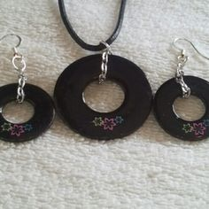 @KyDanJenjewelry Black #wearableindustrialart necklace & earring set. Hand painted. Length is 18in on leather cord with a spring ring clasp. from KyDanJenjewelry for $25.00 on Square Market