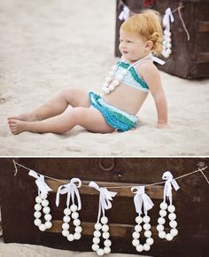 Love the necklaces .... maybe made out of pom pom balls . Ombre Mermaid Party (oct 9) // Hostess with the Mostess®