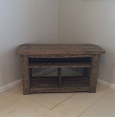 42 Rustic Corner TV Stand Console Wood Table