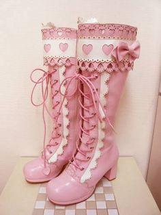 Cute pink and white lolita boots. Moda Lolita, Lolita Mode, Kawaii Shoes, Kawaii Clothes, Kawaii Fashion, Lolita Fashion, Cute Shoes, Me Too Shoes, Ugly Shoes