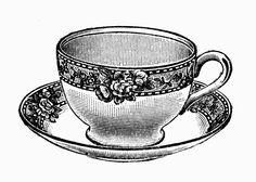 Tea Time - Free Vintage Illustrations in Black and White - Teacups and Teapots - L'Ora del Te - Illustrazioni Vintage in Bianco e Nero - Tazzine e Teiere