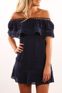 Caspian Dress Navy