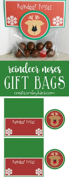 Reindeer Noses . . . These printable gift bag toppers make quick, easy, and adorable Christmas gifts for anyone! via @creationsbykara.com
