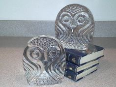 Rare 1960's BLENKO Clear Glass Owl Bookend Sculpture, Danish modern, Eames vibe