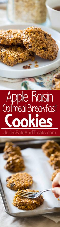 Apple Raisin Oatmeal Breakfast Cookies ~ These easy, one-bowl breakfast cookies are made with oatmeal, apples, raisins and almond butter for a healthy, vegan breakfast, perfect for busy mornings! ~ http://www.julieseatsandtreats.com
