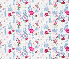 Vintage Scent Bottles fabric by michellegracedesign on Spoonflower - custom fabric