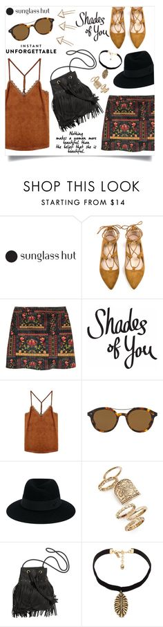 """Shades of You: Sunglass Hut Contest Entry"" by anchilly23 ❤ liked on Polyvore featuring H&M, Giorgio Armani, Maison Michel, Topshop, Vanessa Mooney and shadesofyou"