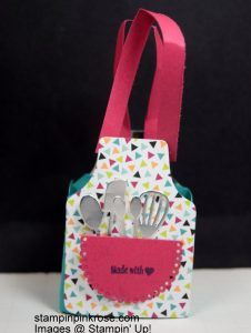 Stampin' Up! Any Special Occasion make a treat bag with Apron of Love stamp set and framelit. This was designed by Demo Pamela Sadler. This would be cute for a bridal shower. See more cards at stampinkrose.com and etsycardstrulyheart