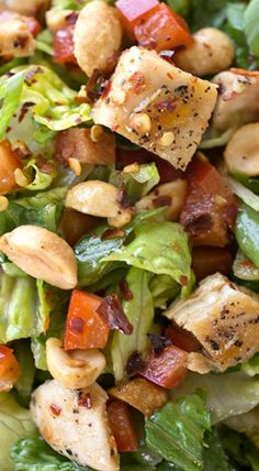 Kung Pao Chicken Chopped Salad with Sweet-Spicy Szechuan Dressing and Roasted Peanuts