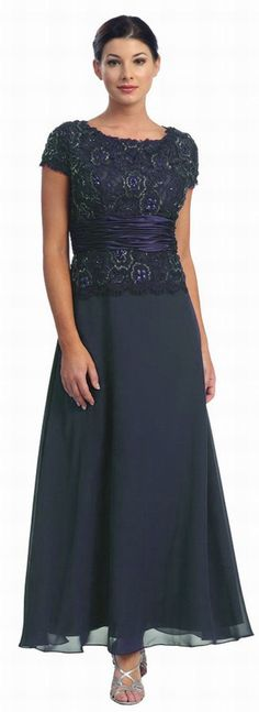 Short Sleeve Mother of the Bride Evening Dresses in a navy color would be great for winter weddings. get more mother of the bride gown inspiration at www.dariuscordell.com