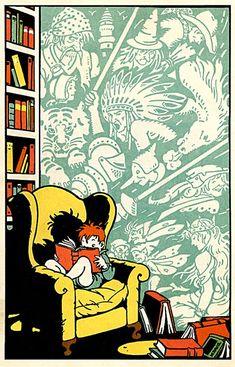En cada libro… un mundo para imaginar (ilustración de Joe Buffalo Nickels)