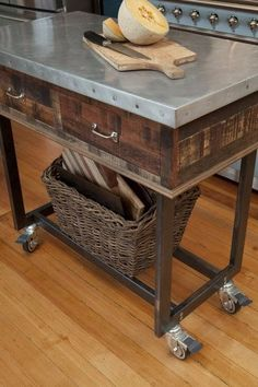 HOW cute is this cart! Home remodeling in two stages gets its final leg in a kitchen update that reflects owner's eclectic French Asian Country style Pallet Furniture, Industrial Furniture, Kitchen Furniture, Rustic Furniture, Kitchen Island Bench, Kitchen Dining, Kitchen Decor, Kitchen Islands, Kitchen Carts