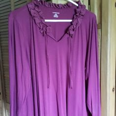Lightweight Jersey Top (2 for sale) Long sleeve top is lightweight enough for spring and summer.  Looks equally great with jeans, slacks or skirt.  This runs small, and fits 18-20. I don't know how, but I actually have two of these tops ☺  TRADES PP     Please use Offer Button Lands' End Tops