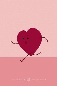 3d Character Animation, 3d Animation, 2d Character, Heart Illustration, Character Illustration, Digital Illustration, 3d Animated Gif, Animated Heart, Running Inspiration