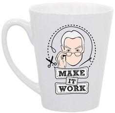 Project Runway Tim Gunn Make it Work coffee mug by perksofaurora, $16.00  Project Runway, Tim Gunn, Make it Work, Coffee Mug
