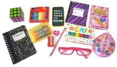 13 Piece School Supply Set w/ Pink Eyeglasses for American Girl Dolls Baby Barbie, Barbie Toys, Pink Eyeglasses, American Girl Doll Sets, Diy Barbie Furniture, Crayon Set, Miniature Crafts, Barbie Accessories, Doll Crafts