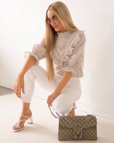 ShopStyle Look by astyleisborn featuring H&M Frilled cotton blouse and Gucci Dionysus GG Supreme Small shoulder bag Gucci Shoulder Bag, Small Shoulder Bag, H&m Tops, Cotton Blouses, White Denim, No Frills, Latest Trends, Delicate, Fashion Looks
