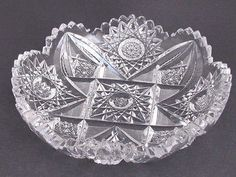 Offering This ABP antique cut glass low dish From the American brilliant period 1886 glass is water clear and cutting is sharp in diameter high and weighs lbIn good condition no chips cracks or cloudiness, Froo . Antique Dishes, Antique Glassware, Vintage Dishes, Antique China, Vintage Pyrex, Antique Plates, Vintage Kitchenware, Cut Glass, Glass Art