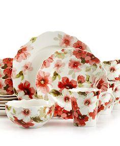 Beautiful Spring Dishes  222 Fifth Dinnerware, Alicia 16 Piece Set - Casual Dinnerware - Dining & Entertaining - Macy's