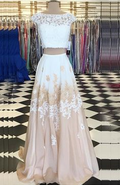 Two Piece Bateau Champagne Chiffon Sweep Train Beaded Prom Dress with Appliques