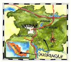 Illustrated Map of Michoacan Mexico. Watercolour Illustration by Cam Wilson. www.camwilson.ca