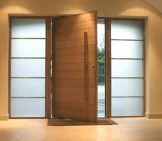 porte d'entrée pivotante en bois de type desaxé