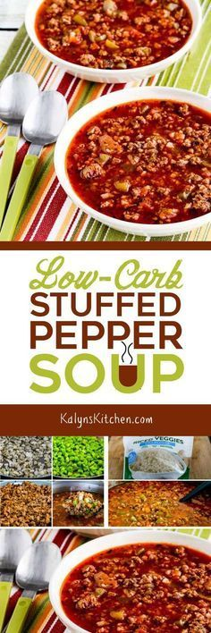If you like the flavors of stuffed peppers but don't want the carbs, you'll love this Low-Carb Stuffed Pepper Soup. And this delicious soup is also Keto, low-glycemic, gluten-free, and South Beach Diet Phase One.  [found on KalynsKitchen.com]
