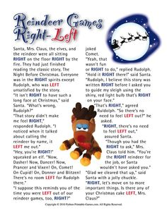 Reindeer Games Right-Left Family Printable Christmas Game: