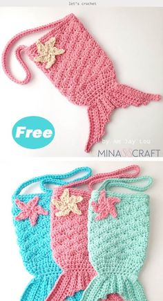 Mermaid Tail Purse Crochet Free Pattern The cute Mermaid Tail Purse will be great to hold books, phones, snacks or other mini stuffs, and it will be a perfect accessory for your little girl. Bag Sewing Pattern, Purse Patterns Free, Bag Pattern Free, Handbag Patterns, Bracelet Patterns, Crochet Gifts, Cute Crochet, Crochet Baby, Baby Mermaid Crochet