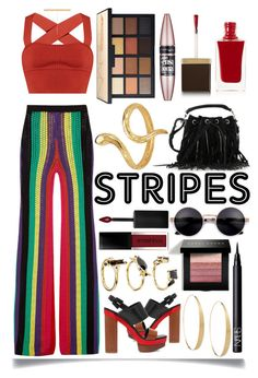 """Striped Pants"" by ittie-kittie ❤ liked on Polyvore featuring Balmain, Michael Kors, Khaite, Yves Saint Laurent, Lana, NARS Cosmetics, Bobbi Brown Cosmetics, Madina Visconti di Modrone, Smashbox and Tom Ford"