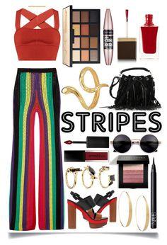 """Striped Pants"" by ittie-kittie ❤ liked on Polyvore featuring Balmain, Michael Kors, Khaite, Yves Saint Laurent, Lana, NARS Cosmetics, Bobbi Brown Cosmetics, Madina Visconti di Modrone, Smashbox and Tom Ford"
