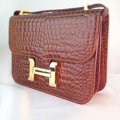 Vintage 1980s Stamped Crocodile/Alligator Leather by casalupe