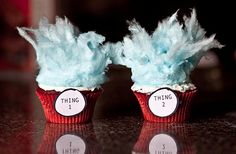 thing 1 and 2 cupcakes with blue fairy floss.....yummmmmm