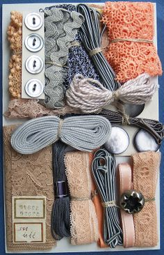 Crazy Quilt Embellishment Assortment - Peach & Gray. Buttons, ribbons, trims, thread #sewing