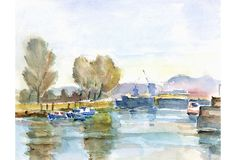 Watercolor of a sparkling French harbor filled with small fishing boats by artist Tae, circa 1950.