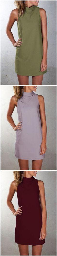 High Neck Sleeveless Mini Dress
