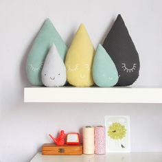Raindrop pillows. craft, kid rooms, nurseri, cushion, rain drops, families, pillows, diy projects, baby showers
