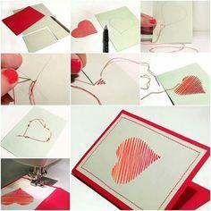 DIY sew heart card